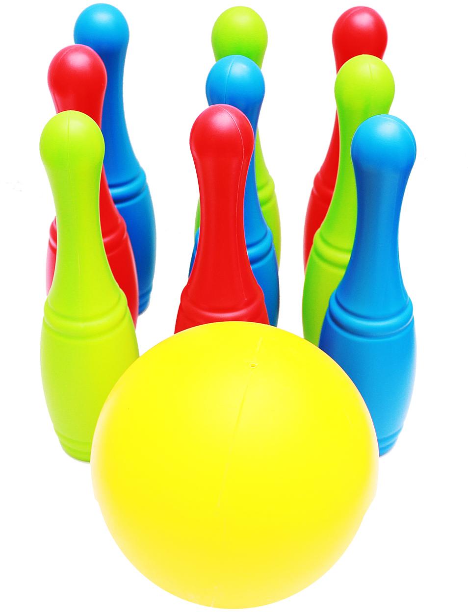 цена на Рыжий Кот Игровой набор 9 кеглей на держателе и большой мяч