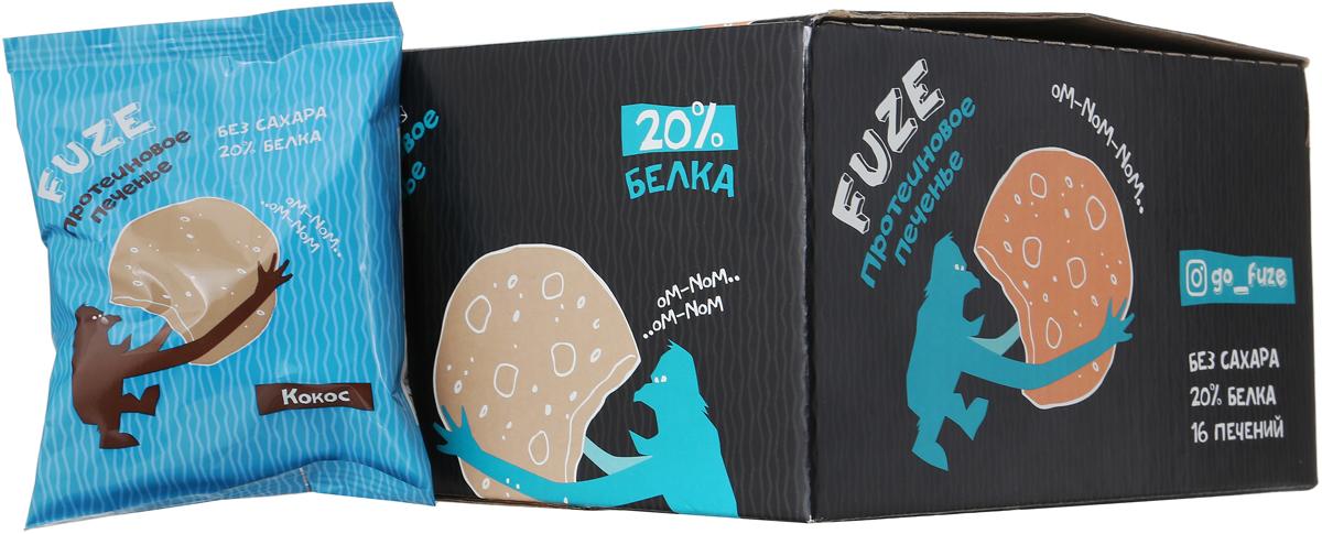 Печенье белковое Fuze Cookies, кокос, 640 г, 16 упаковок печенье fuze cookies кокос 40 г