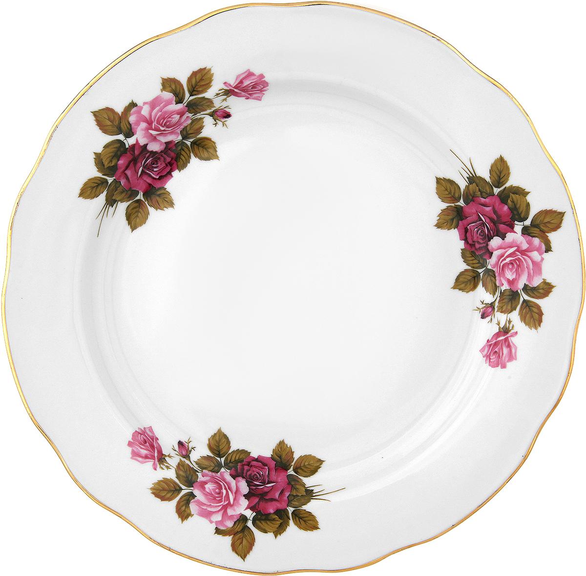 Тарелка обеденная Дулево Дот Роза, 24 см цена