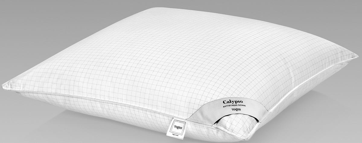 Подушка Togas Калипсо, наполнитель: гусиный пух, цвет: белый, 70 x 70 см подушка estia аоста наполнитель пух 70 х 70 см