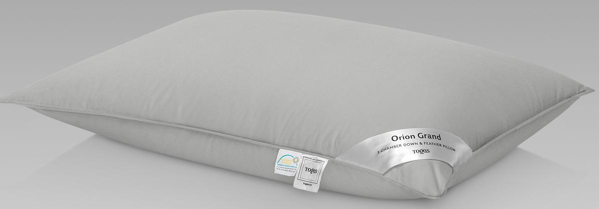 Подушка Togas Орион Гранд, наполнитель: гусиный пух, цвет: белый, 50 x 70 см наматрасник togas оптимум лайт наполнитель хлопок цвет белый 180 x 200 см