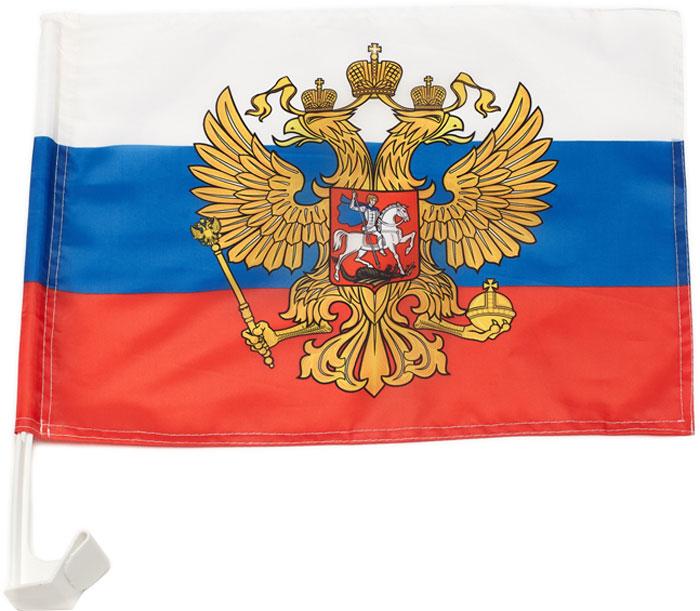 Флаг автомобильный РусФлаг Триколор Герб, 30 х 40 см накидка болельщика русфлаг триколор герб дюспо