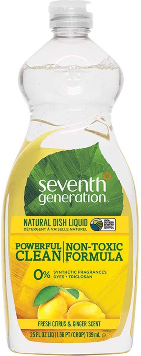 """Жидкость для мытья посуды Seventh Generation """"Свежий цитрус и имбирь"""", гипоаллергенная, 739 мл"""