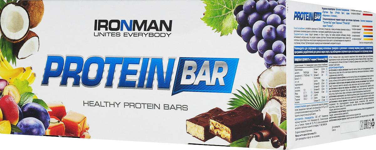 Фото - Батончик энергетический Ironman Protein Bar, с коллагеном, банан, темная глазурь, 50 г х 24 шт батончик протеиновый ironman protein bar с коллагеном карамель темная глазурь 50 г 6 шт