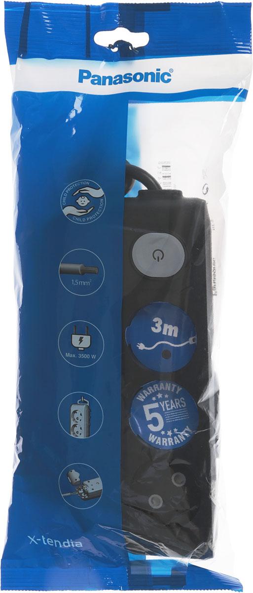 Фото - Удлинитель сетевой Panasonic X-tendia, с защитой от детей, с выключателем, цвет: черный, 3 розетки, 3 м. 54953 удлинитель сетевой panasonic x tendia с защитой от детей цвет черный 3 розетки 3 м 54951