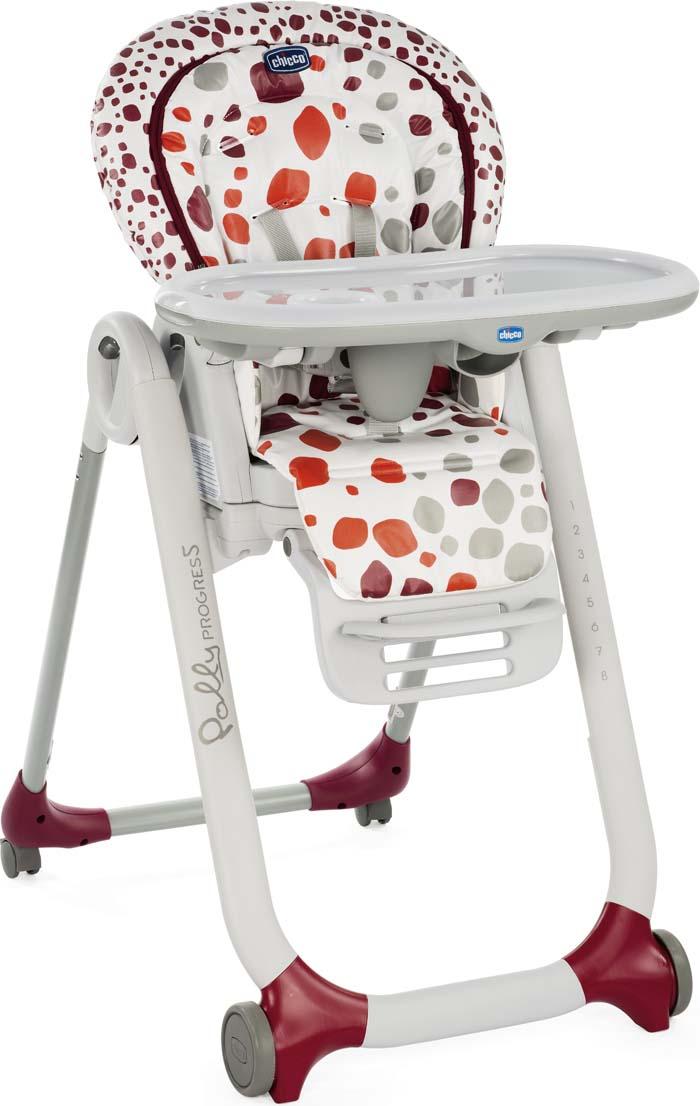 Стульчик POLLY Progres5 Cherry 4 колеса от 0 месяцев стул для кормления chicco polly progres5 вишневый