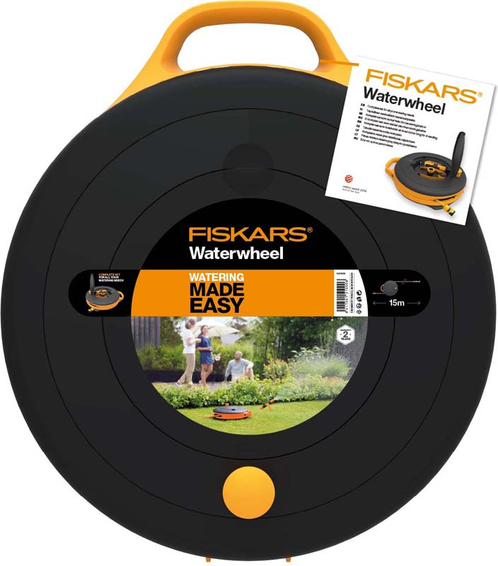 Катушка для шланга Fiskars, со шлангом и набором аксессуаров, диаметр 9 мм, длина 15 м катушка fiskars со шлангом 3 8 15м набор коннекторов