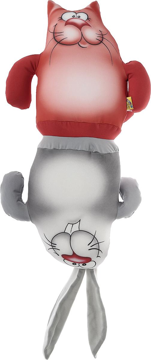 """Подушка-игрушка антистрессовая Штучки, к которым тянутся ручки """"Кот-заяц"""", 10аси01ив-3, коралловый, серый"""