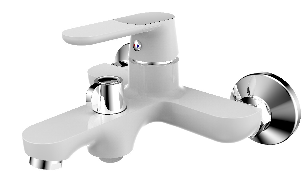 Смеситель для ванны РМС, вертикальный, цвет: белый. SL123W-009E смеситель для ванны рмс sl77 белый с коротким изливом sl77w 009e