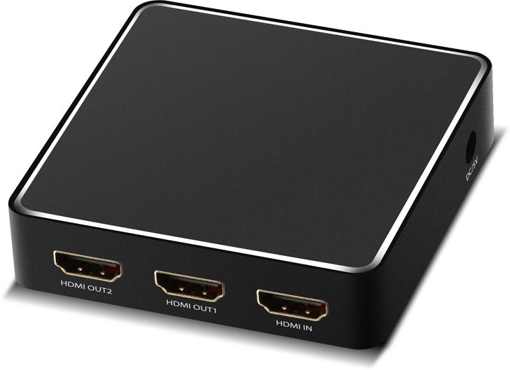 Фото - Greenconnect GL-vA03, Black разветвитель HDMI v2.0 1 на 2 выхода видео