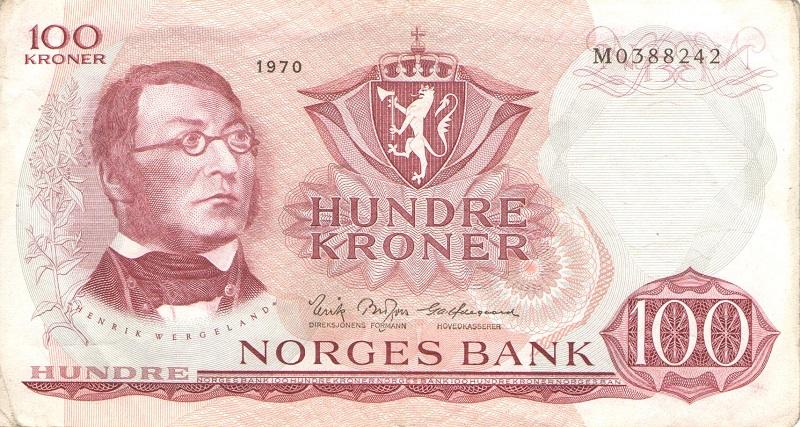 Банкнота номиналом 100 крон. Норвегия. 1970 годнорвегия100-1970вфНа скане именно та банкнота, которую Вы получите при покупке!!!