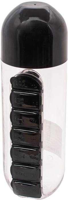 Бутылка для воды Феникс-Презент, с таблетницей, цвет: черный, 600 мл