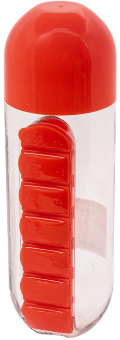 Бутылка для воды Феникс-Презент, с таблетницей, цвет: красный, 600 мл