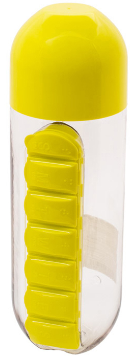 Бутылка для воды Феникс-Презент, с таблетницей, цвет: желтый, 600 мл