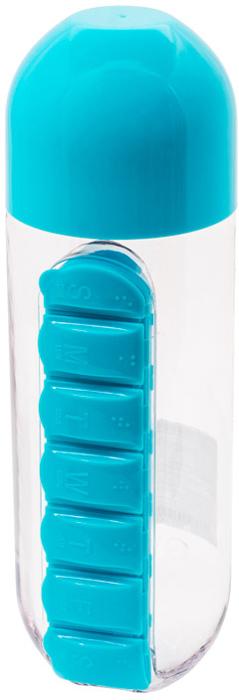 Бутылка для воды Феникс-Презент, с таблетницей, цвет: голубой, 600 мл