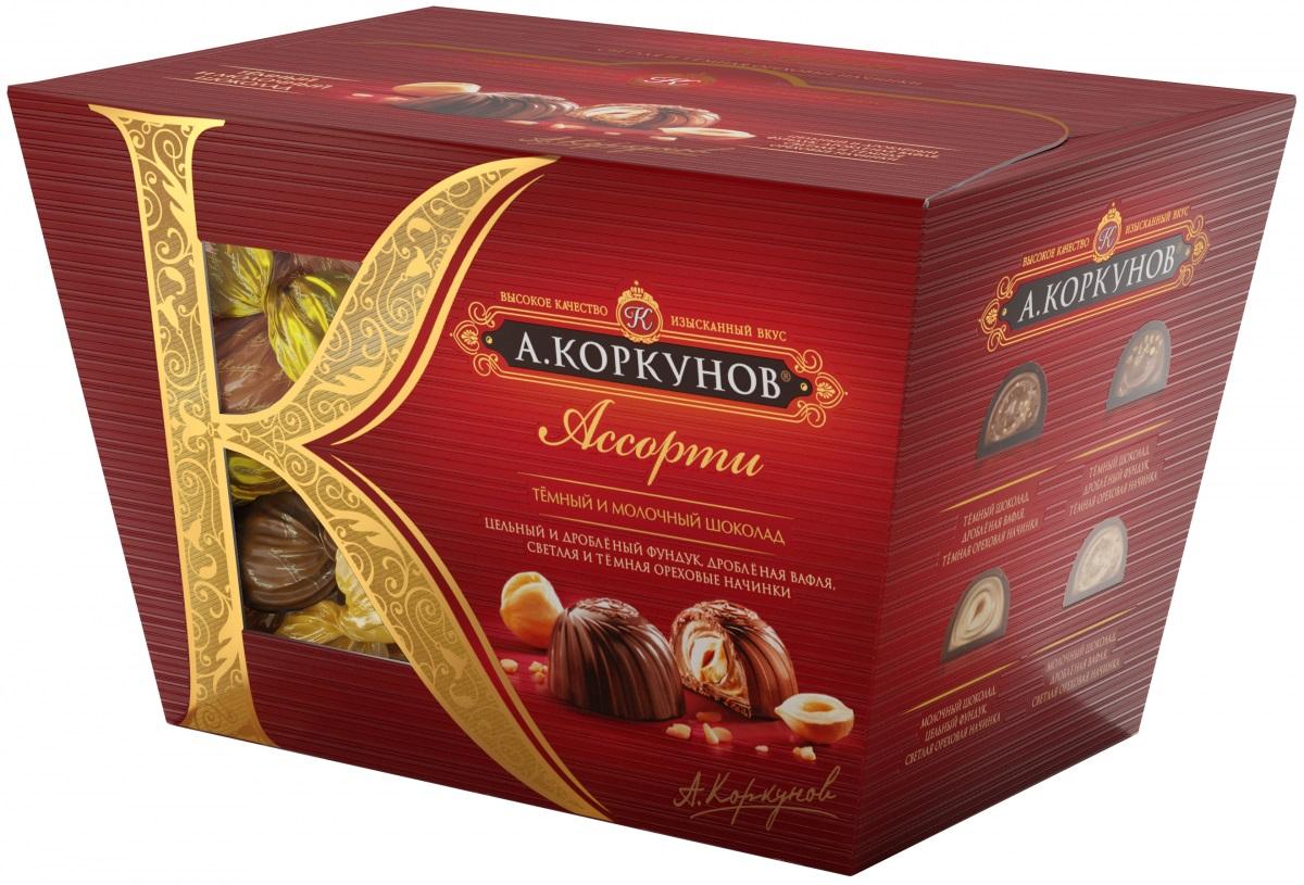 Коркунов Ассорти конфеты темный и молочный шоколад, 137 г цена 2017