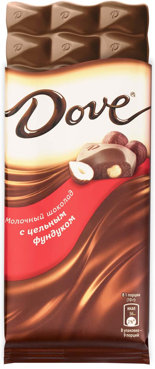 Dove молочный шоколад с цельным фундуком, 90 г lukeria чурчхела с фундуком 90 г