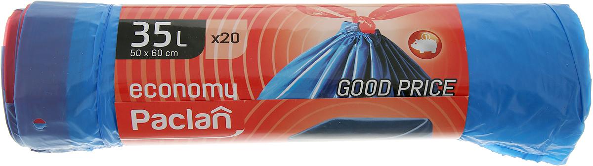 Мешки для мусора Paclan Economy, с завязками, 35 л, 20 шт мешки для мусора paclan economy с завязками 35 л 20 шт