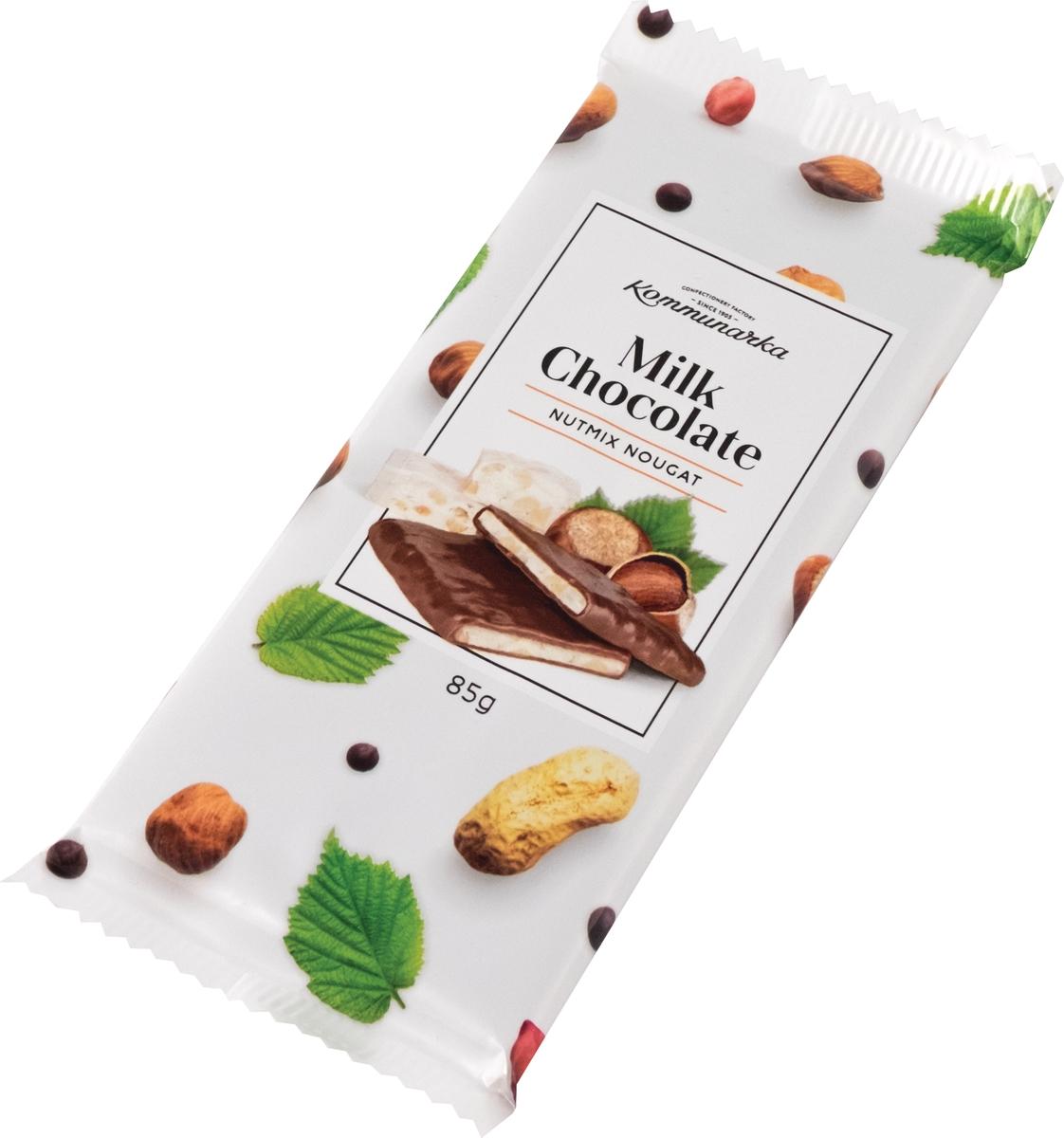 Коммунарка шоколад молочный с ореховой нугой, 85 г коммунарка шоколад молочный с кокосовой нугой 85 г