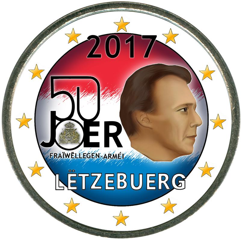 Монета номиналом 2 евро 2017 Люксембург, 50 лет добровольной военной службе (цветная) монета номиналом 2 евро 2017 бельгия 200 лет университету гента цветная