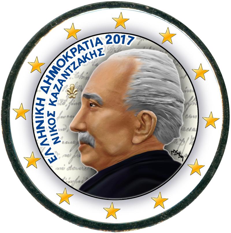 Монета номиналом 2 евро 2017 Греция, Никос Казандзакис (цветная) цена