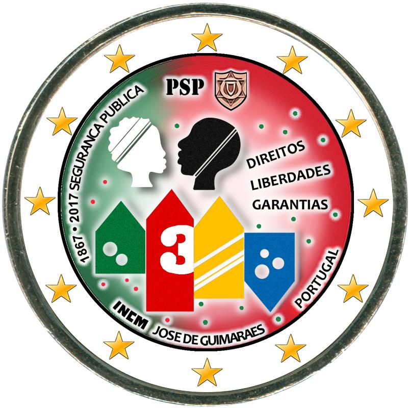 Фото - Монета номиналом 2 евро 2017 Португалия, 150 лет Полиции общественной безопасности (цветная) видео