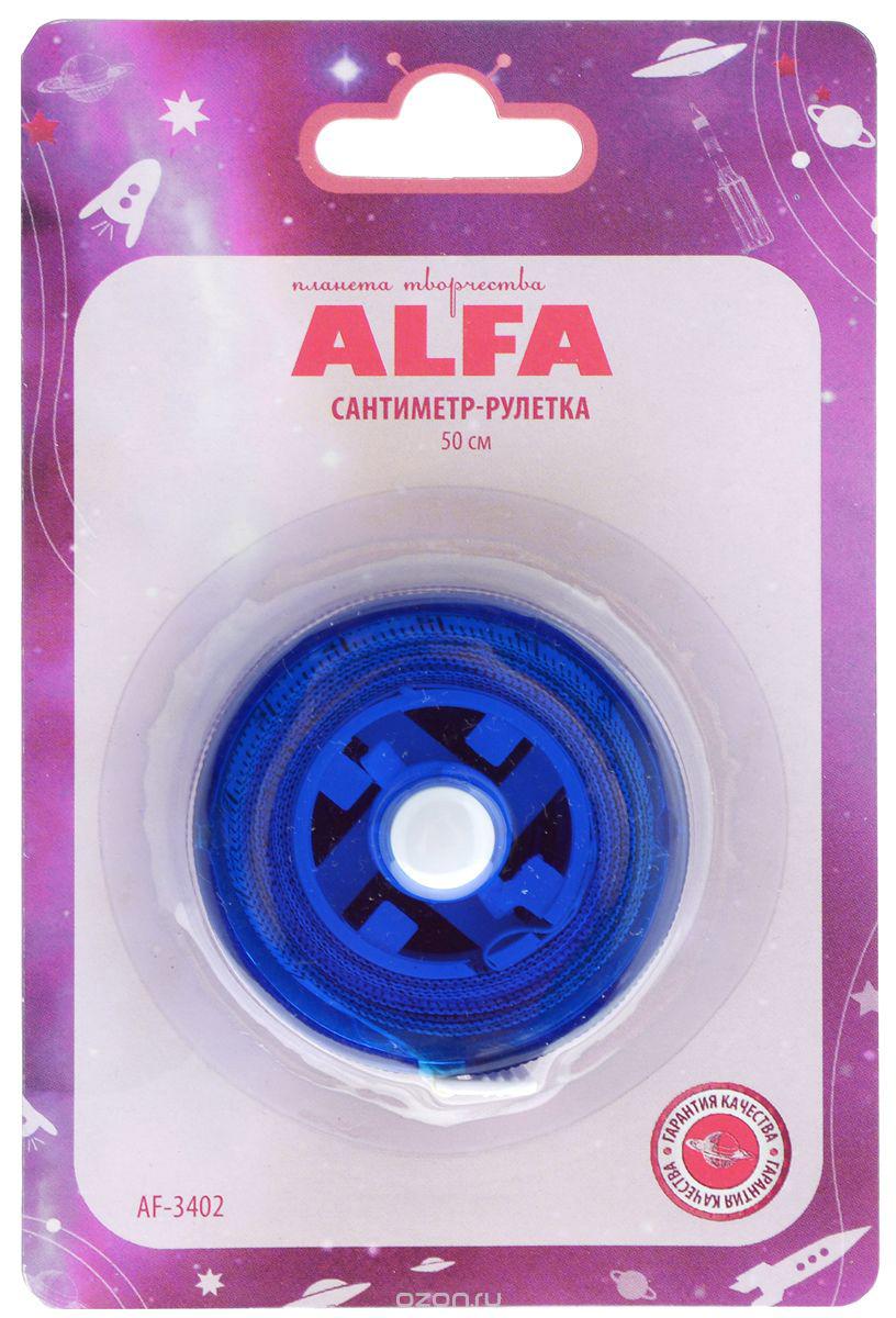 Сантиметр-рулетка Alfa, цвет: синий, белый, 150 см. AF-3402