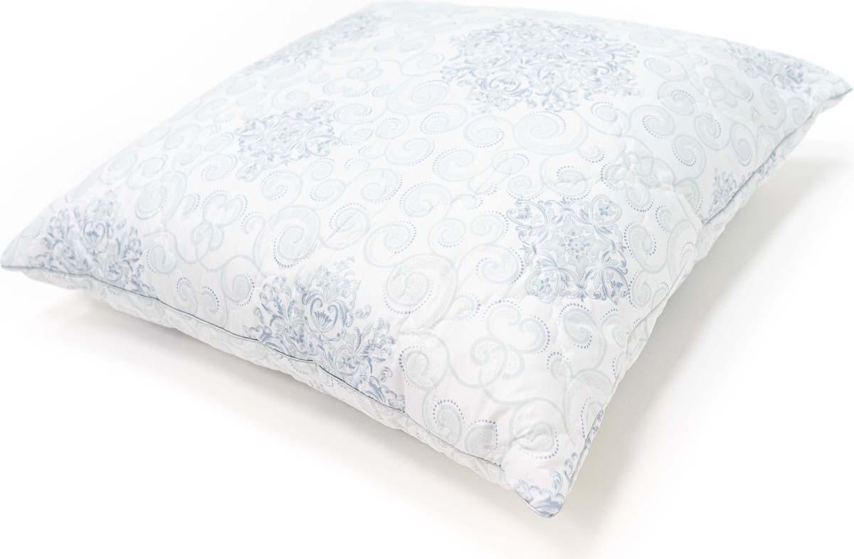 Подушка Сlassic by T Белый чай, стеганая, наполнитель: полиэфирное волокно, цвет: голубой, 70 х 70 см подушка green line лен наполнитель льняное волокно 70 х 70 см