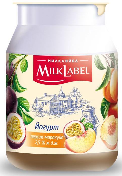 Йогурт в бидончике Персик-Маракуйя MilkLabel, 2,5%, 150 г творожок чудо воздушный персик маракуйя 4 2