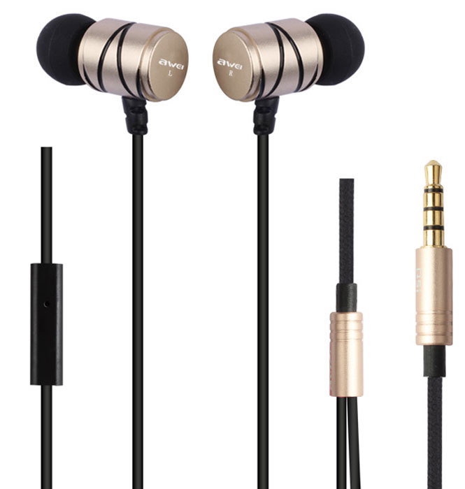 Awei Q5i-GLD, Gold гарнитура awei q5i in ear earphones with mic red
