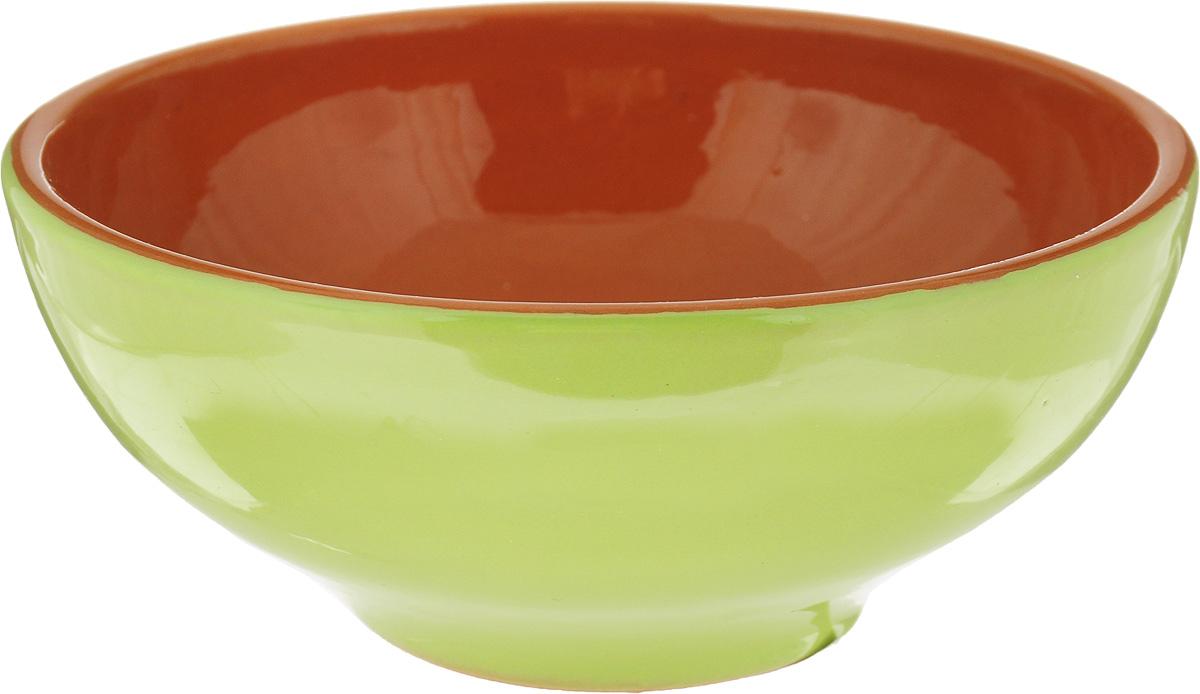 Салатник Борисовская керамика Удачный, цвет: салатовый, коричневый, 450 мл салатник борисовская керамика удачный цвет салатовый коричневый 450 мл