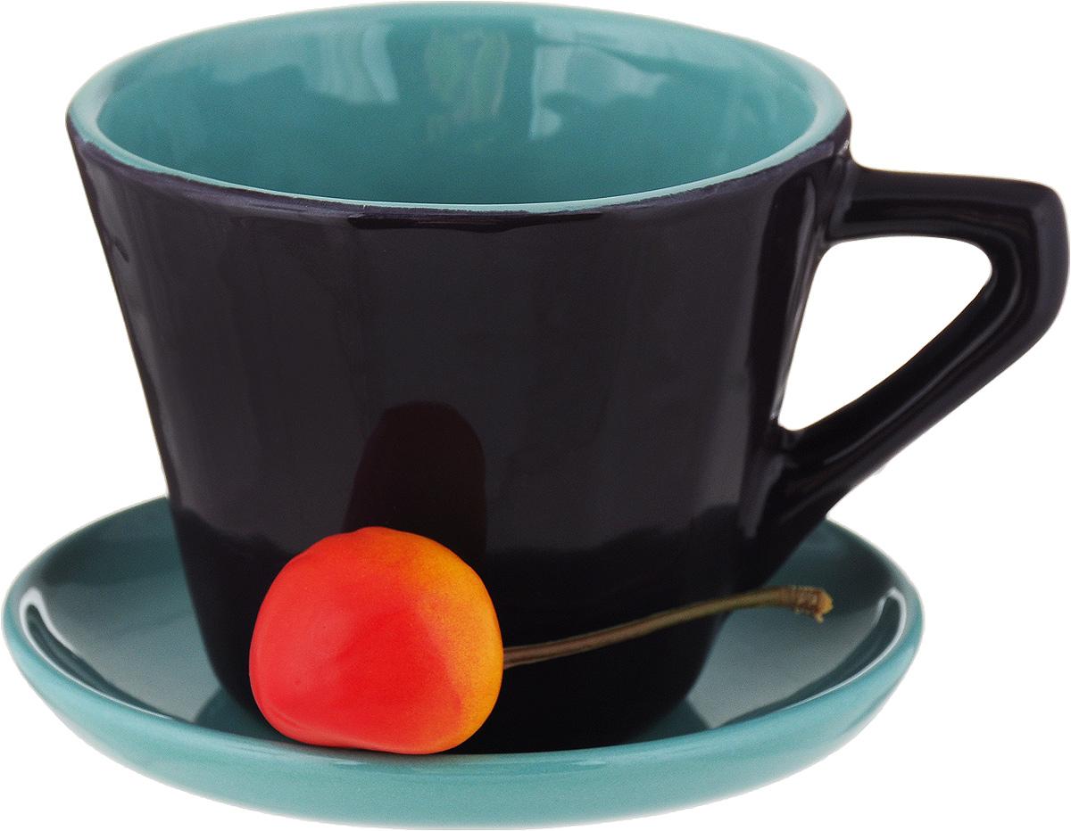 Чайная пара Борисовская керамика Ностальгия, цвет: темно-фиолетовый, голубой, 200 мл чайная пара борисовская керамика ностальгия цвет темно фиолетовый голубой 200 мл