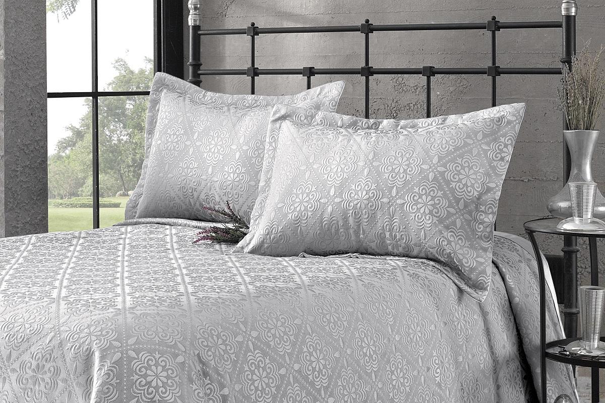 """Комплект для спальни Karna """"Afrodit"""": покрывало 180 x 260 см, наволочка 50 х 70 см, цвет: серый"""