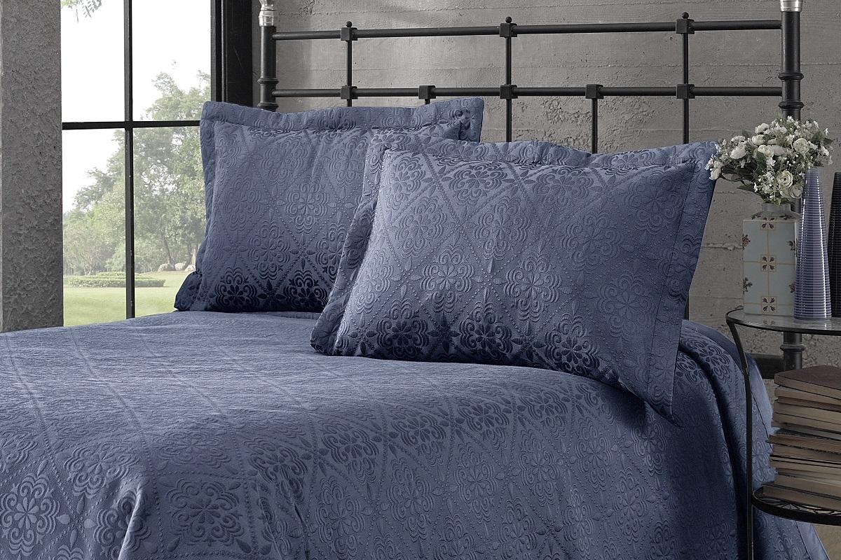 """Комплект для спальни Karna """"Afrodit"""": покрывало 180 x 260 см, наволочка 50 х 70 см, цвет: синий"""