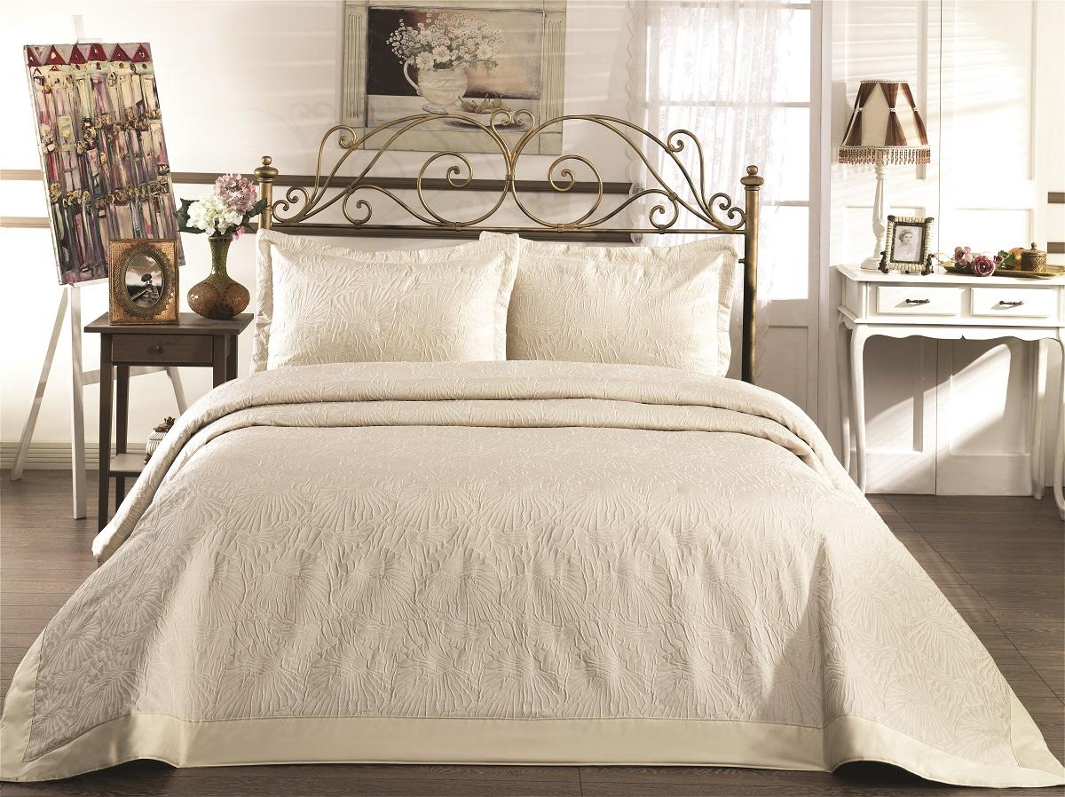 """Комплект для спальни Karna """"Gabel"""": покрывало 260 x 260 см, 2 наволочки 50 х 70 см, цвет: бежевый"""