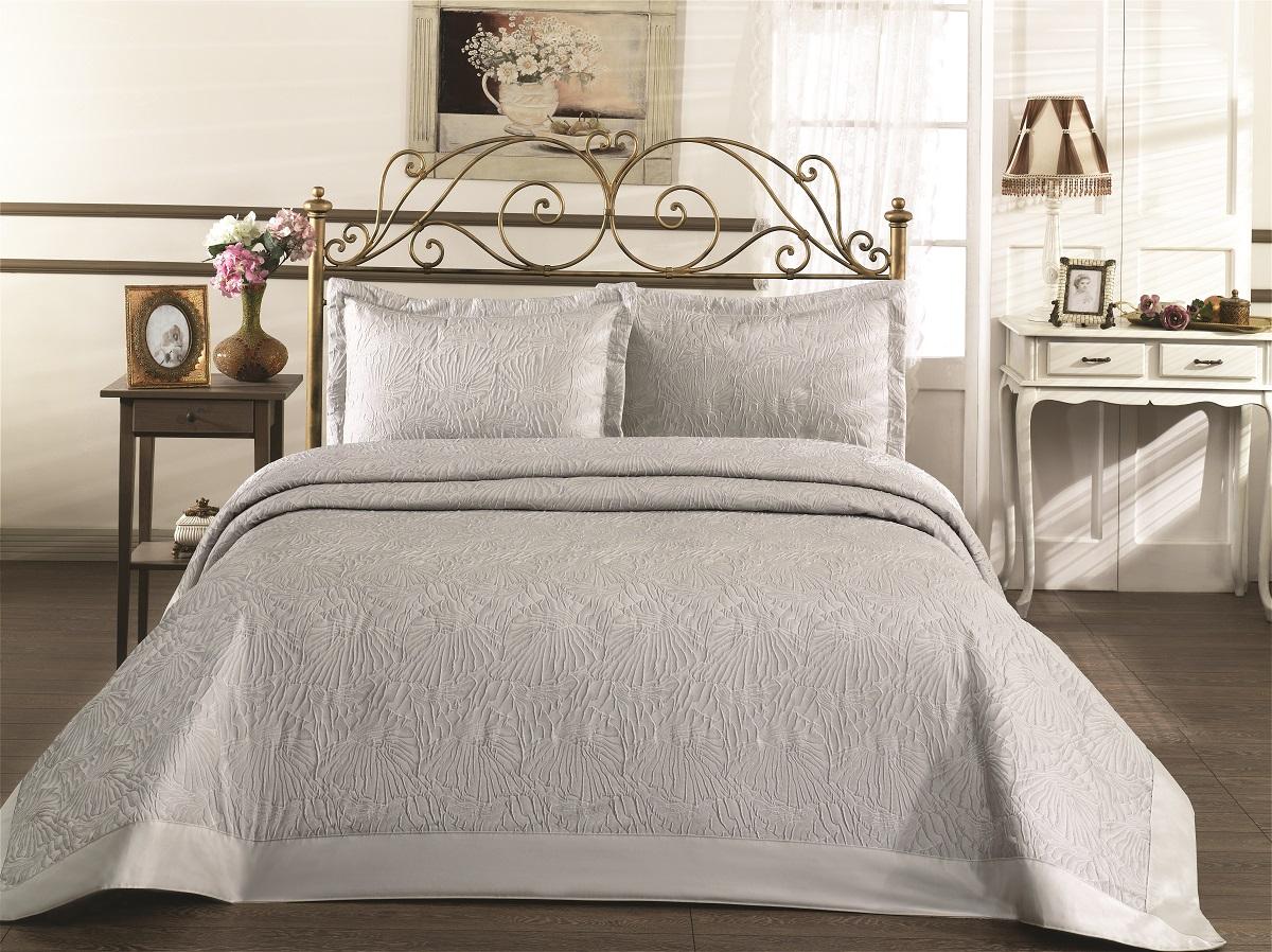 """Комплект для спальни Karna """"Gabel"""": покрывало 260 x 260 см, 2 наволочки 50 х 70 см, цвет: серый"""