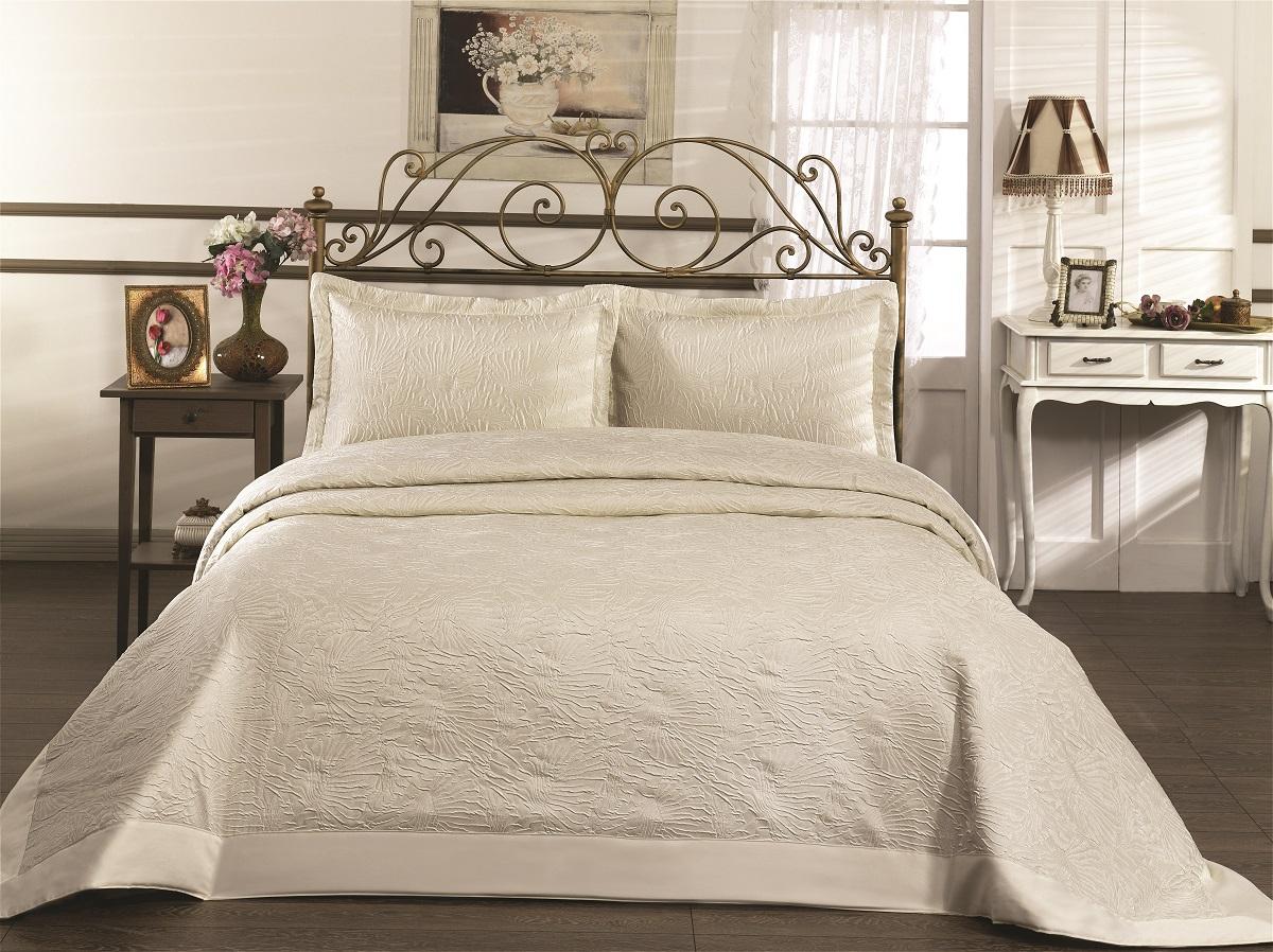 """Комплект для спальни Karna """"Gabel"""": покрывало 260 x 260 см, 2 наволочки 50 х 70 см, цвет: кремовый"""