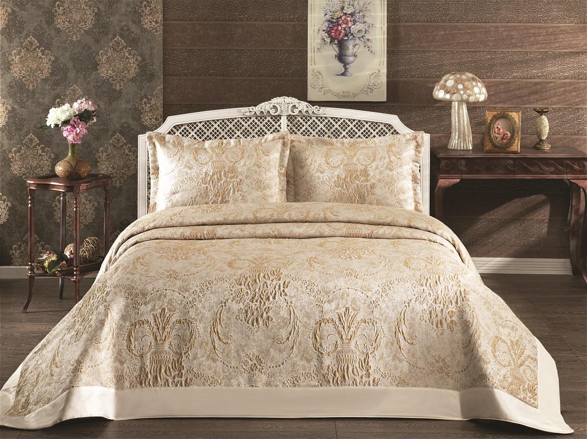 """Комплект для спальни Karna """"Darya"""": покрывало 260 x 260 см, 2 наволочки 50 х 70. 2974"""