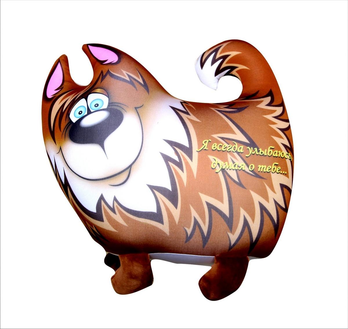 Подушка-игрушка Штучки, к которым тянутся ручки антистрессовая Звери Улыбки, коричневый