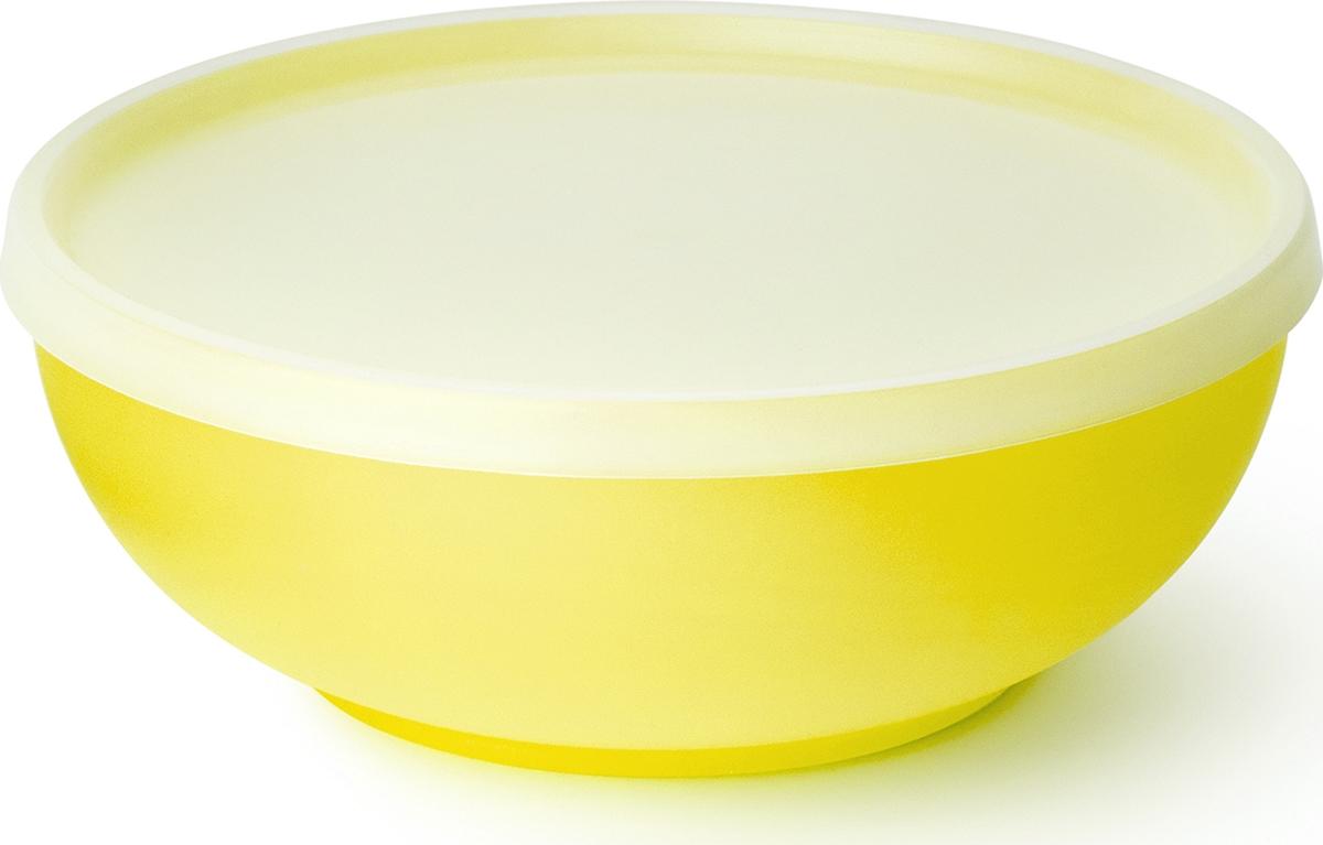 """Миска салатная Sagad """"Пикникс"""", крышкой, 300 мл, цвет: желтый"""
