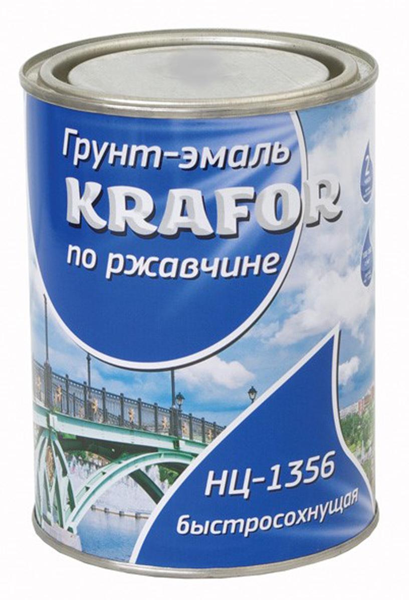 цена на Эмаль по ржавчине Krafor НЦ-1356, цвет: серый, 0,7 кг