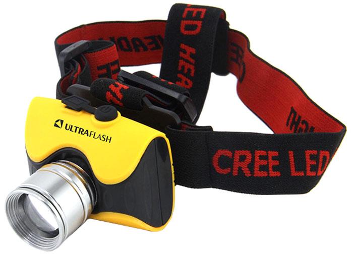 Налобный фонарь Ultraflash E157, желтый фонарь ultraflash e157 налоб аккум 220в желтый cree 3 ватт фокус 3 реж пласт бокс