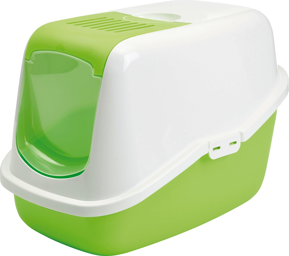 цена на Туалет для кошек Savic Nestor, цвет: белый, зеленый лимон, 56 х 39 х 38,5 см
