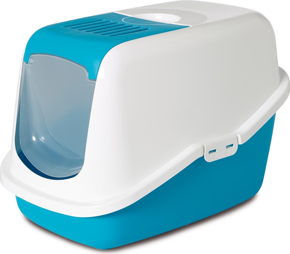 Туалет для кошек Savic Nestor, цвет: белый, синий, 56 х 39 х 38,5 см туалет для кошек curver pet life закрытый цвет кремово коричневый 51 х 39 х 40 см