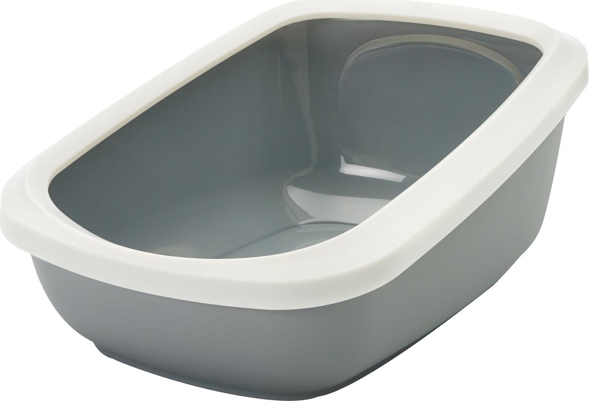 цена на Туалет для кошек Savic Aseo Jumbo, с бортом, цвет: серый, 67,5 х 48,5 х 28 см