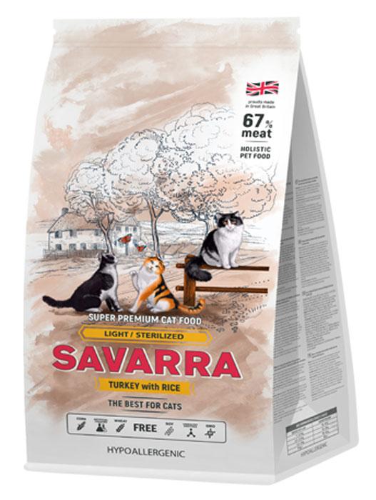 """Корм сухой """"Savarra"""" для взрослых кошек с избыточным весом и стерилизованных, с индейкой и рисом, 2 кг"""