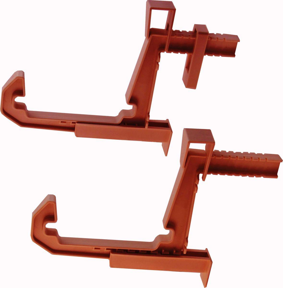 Крепление для балконных ящиков Idea, универсальное, цвет: терракотовый, 2 шт поддон для балконного ящика idea цвет терракотовый 40 см