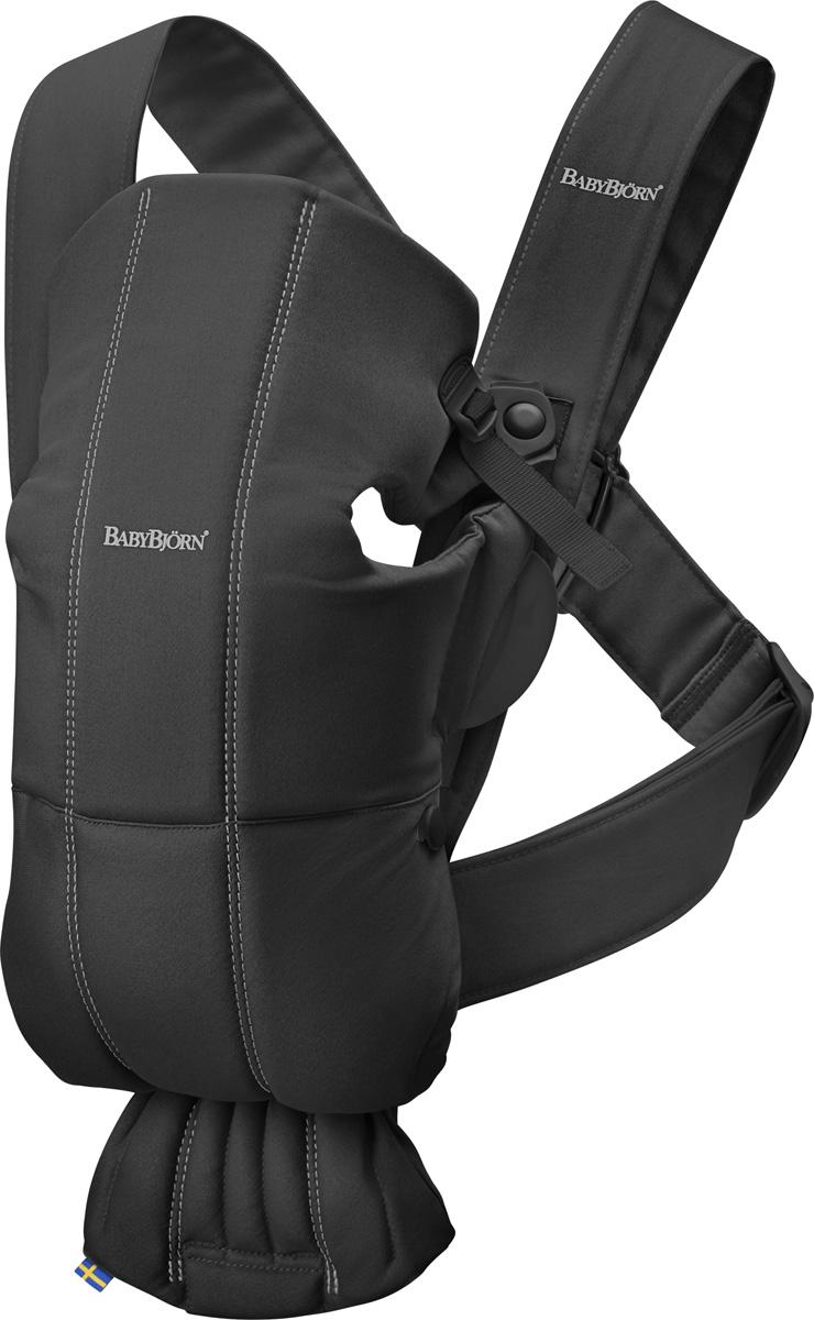 BabyBjorn Рюкзак для переноски детей Mini Cotton цвет черный babybjorn baby bjorn miracle рюкзак переноска черный с серебряным