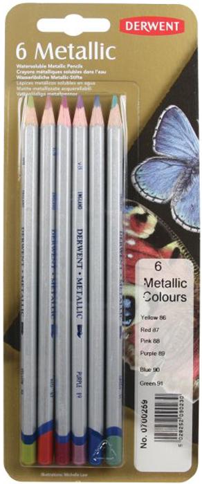 Derwent Набор цветных карандашей Metallic Coloured 6 цветов derwent набор цветных карандашей coloursoft 48 цветов