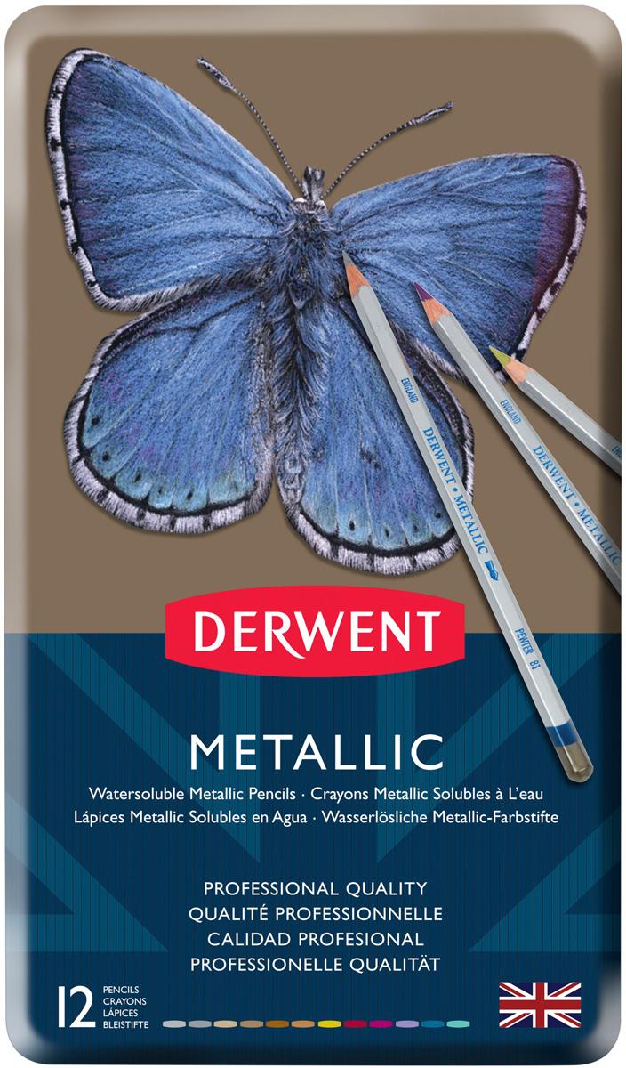 Derwent Набор цветных карандашей Metallic 12 цветов derwent набор цветных карандашей coloursoft 48 цветов